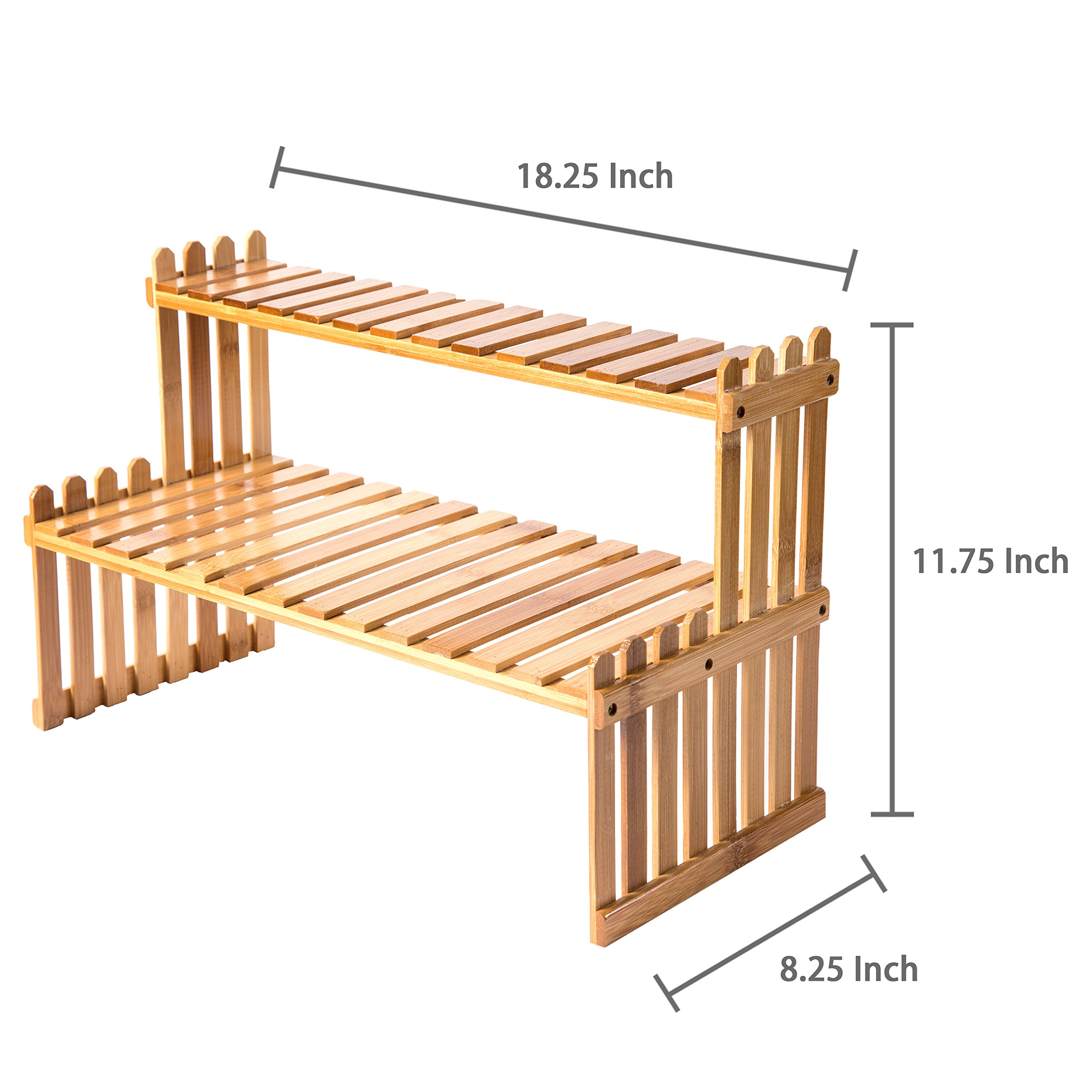 MyGift Tabletop Natural Bamboo Plant Stand, 2 Tier Desktop Shelf Rack, Brown by MyGift (Image #7)