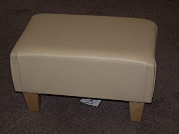 Luxury Large Footstool In Modern Cream Faux Leather With