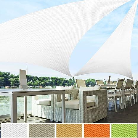 casa pura® Toldo Triangular Resistente, Grueso | Impermeable, Lavable a máquina | tamaños y Colores a Elegir, Blanco: Amazon.es: Jardín