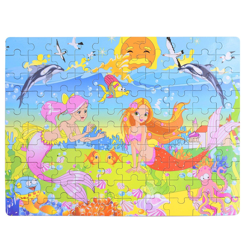 Kearui DIY 3D Puzzle Paper Puzzle Jigsaw Puzzles Assemble Mermaid Puzzle Toys Brain Teaser Puzzles Educational Brain Train Toy Creative Handmade Play Set For Children (100 Pieces)