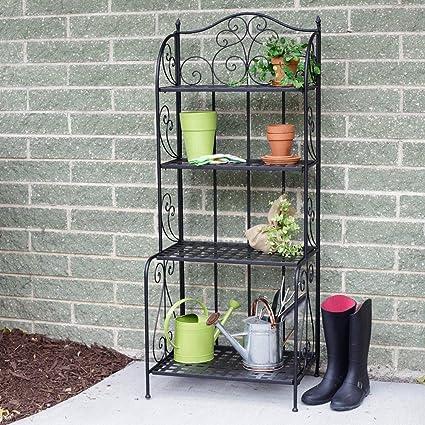finest selection efdfc edd02 Versatile Victorian 4 Tier Standing Wire Shelf, Planter Stand Storage  Outdoor, Balcony Shelving Unit, Metal Bakers Rack, Rustproof Organizer for  ...