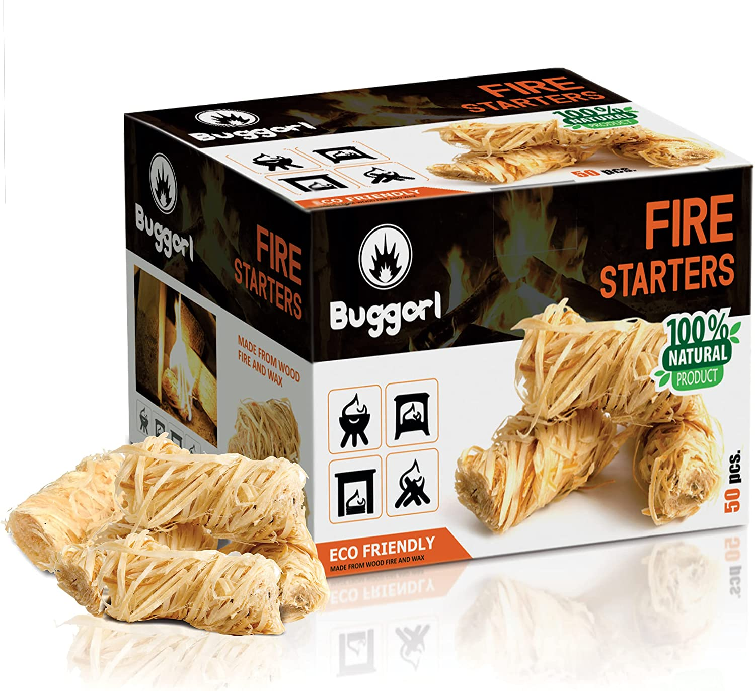 Buggorl Natural Fire Starters - Firestarter Kit Made from Pine Wood Shavings, Food-Grade Wax for Fireplace, Wood Stove, Food Smoker, Charcoal Grill, Chimney, Campfire - Smokeless, Odorless - Box of 50