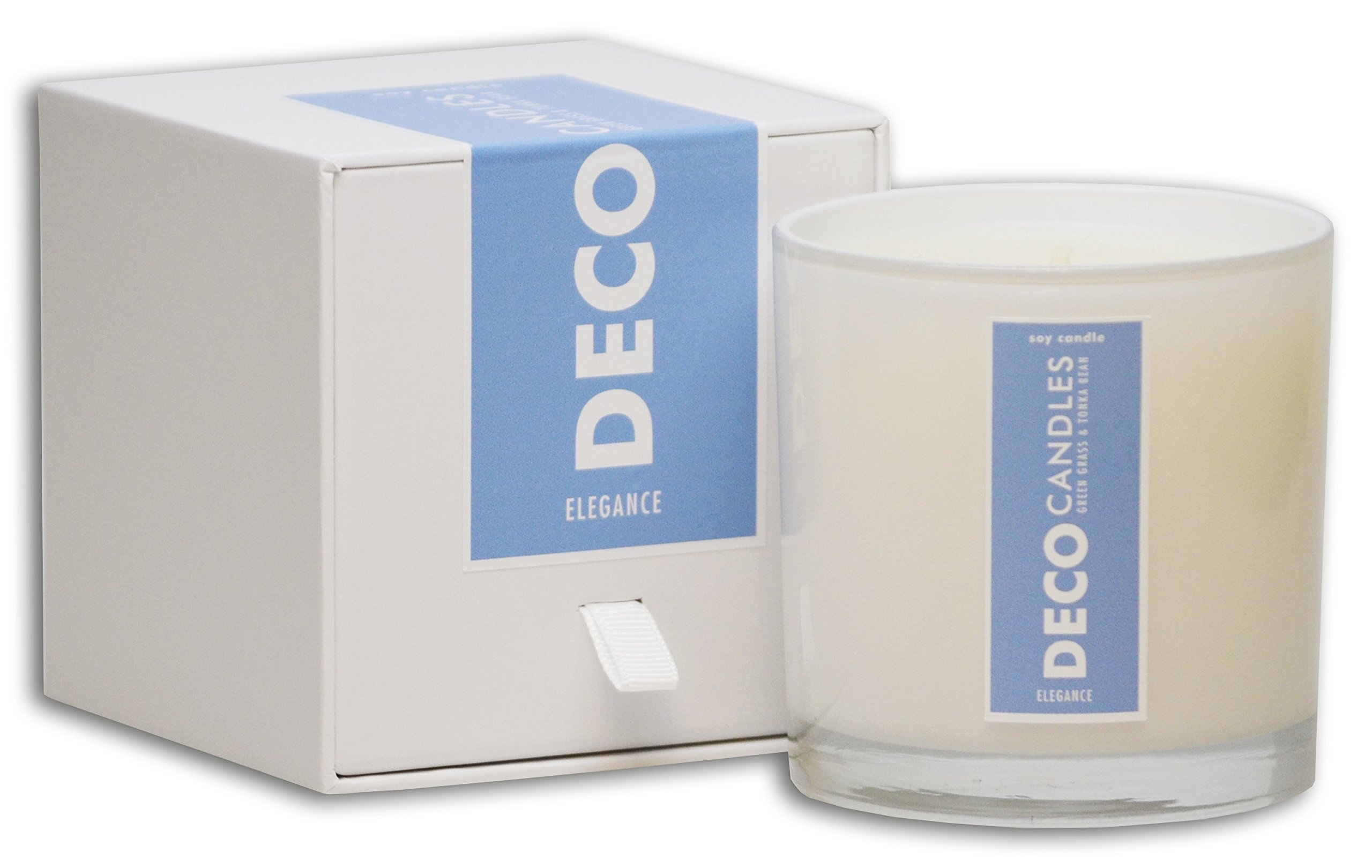 DecoCandleS | Elegance - Bergamot, Green Grass & Tonka Bean - Highly Scented Candle - Long Lasting - Hand poured in the USA - Hotel Inspired Collection - 9 Oz.