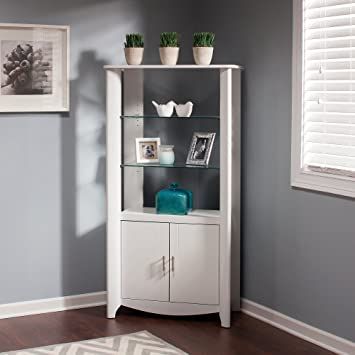 Bush Furniture Aero Tall Library Storage Cabinet With Doors In Pure White