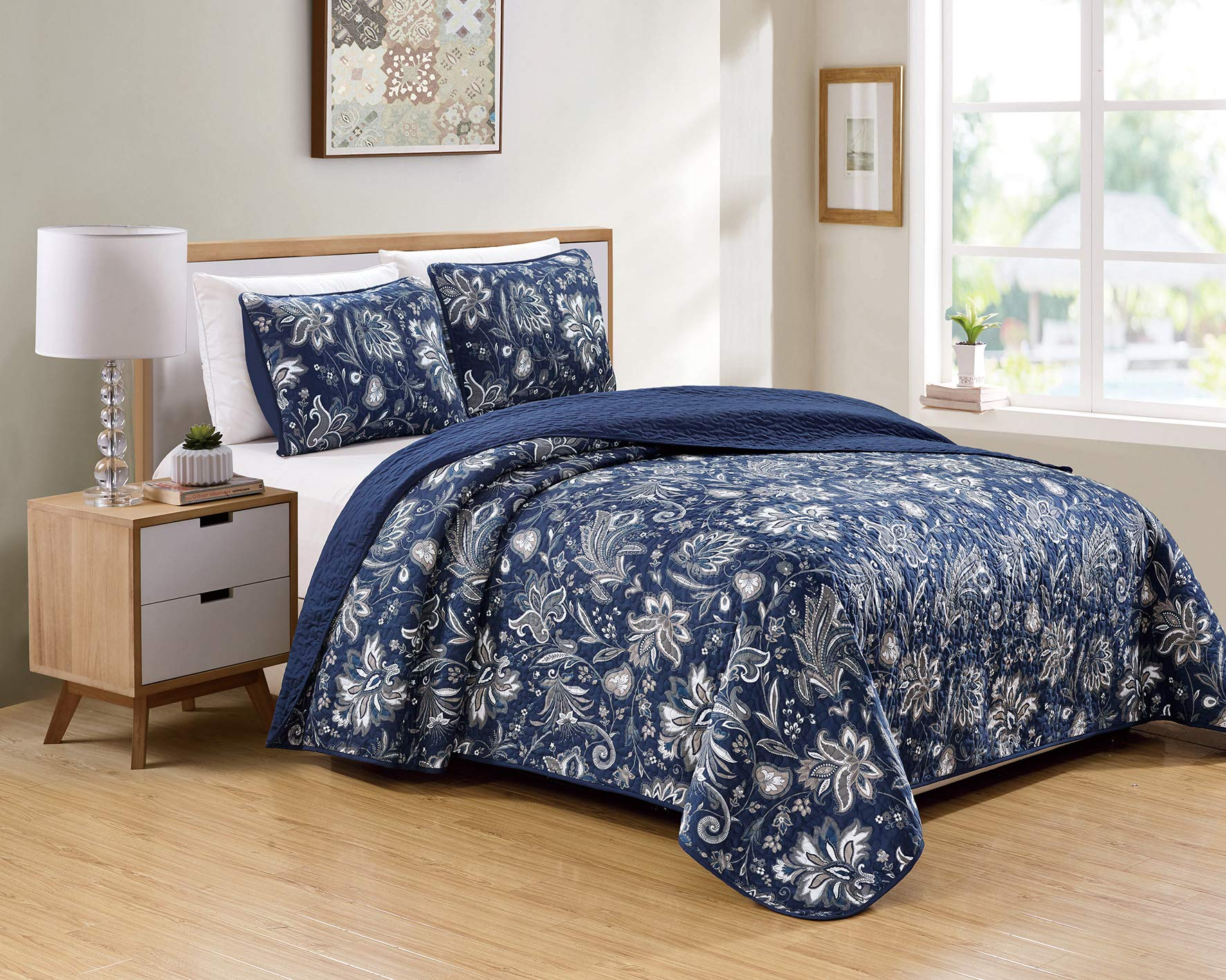 Kids Zone Home Linen 3 Piece King/Cal King Over Size Bedspread Set Floral Print Pattern Blue Taupe White Grey by Kids Zone Home Linen