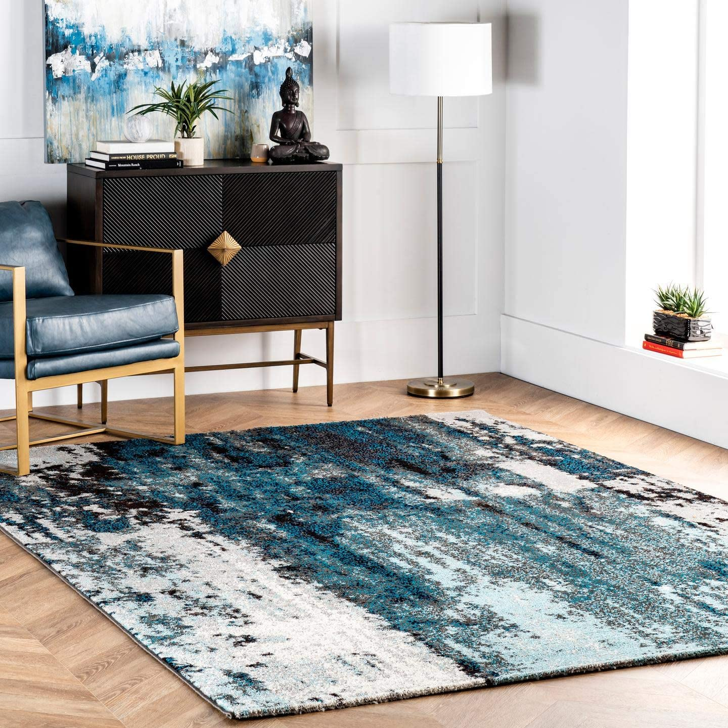 Safavieh Classic Vintage Collection CLV221A Teal and Black Area Rug 8 x 10