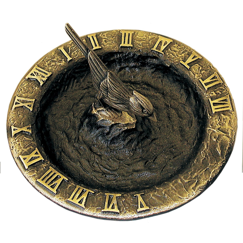 Rome RM2322 Antique Brass Birdbath Sundial by Rome Industries