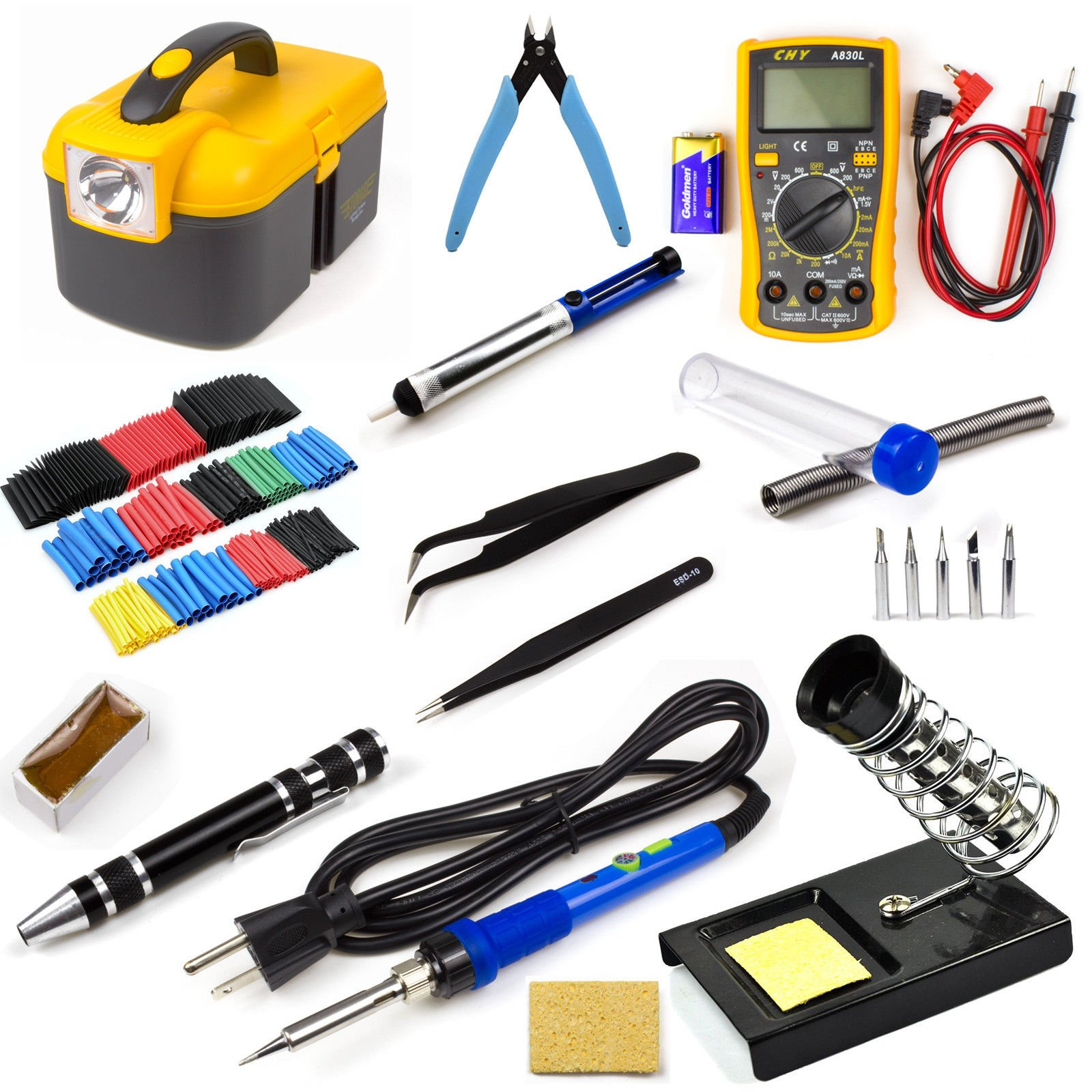 Ziss Soldering Iron Tool Kit Electronics Adjustable Temperature Welding Tool With 5pcs Soldering Tips and 328pcs Heat Shrinkable Tube by Ziss (Image #8)