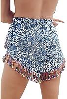 DZT Women's Print Tassel High Waist Shorts Summer Casual Shorts Short Hot Pants
