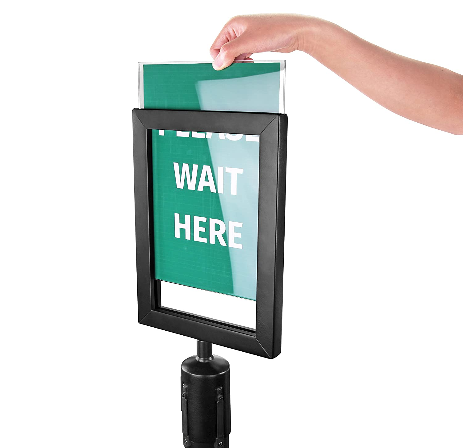 New Star Foodservice 54729 Sign Frame For Stanchion Belt, Black New Star Foodservice Inc.