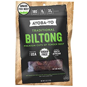 Ayoba-Yo Biltong. Grass Fed, Tender Beef Snack. Better than Jerky. Keto Certified, Paleo Certified and Whole30 Friendly. High Protein Steak Cuts. Made with Premium Meat. Gluten & Sugar Free. 2 Ounce