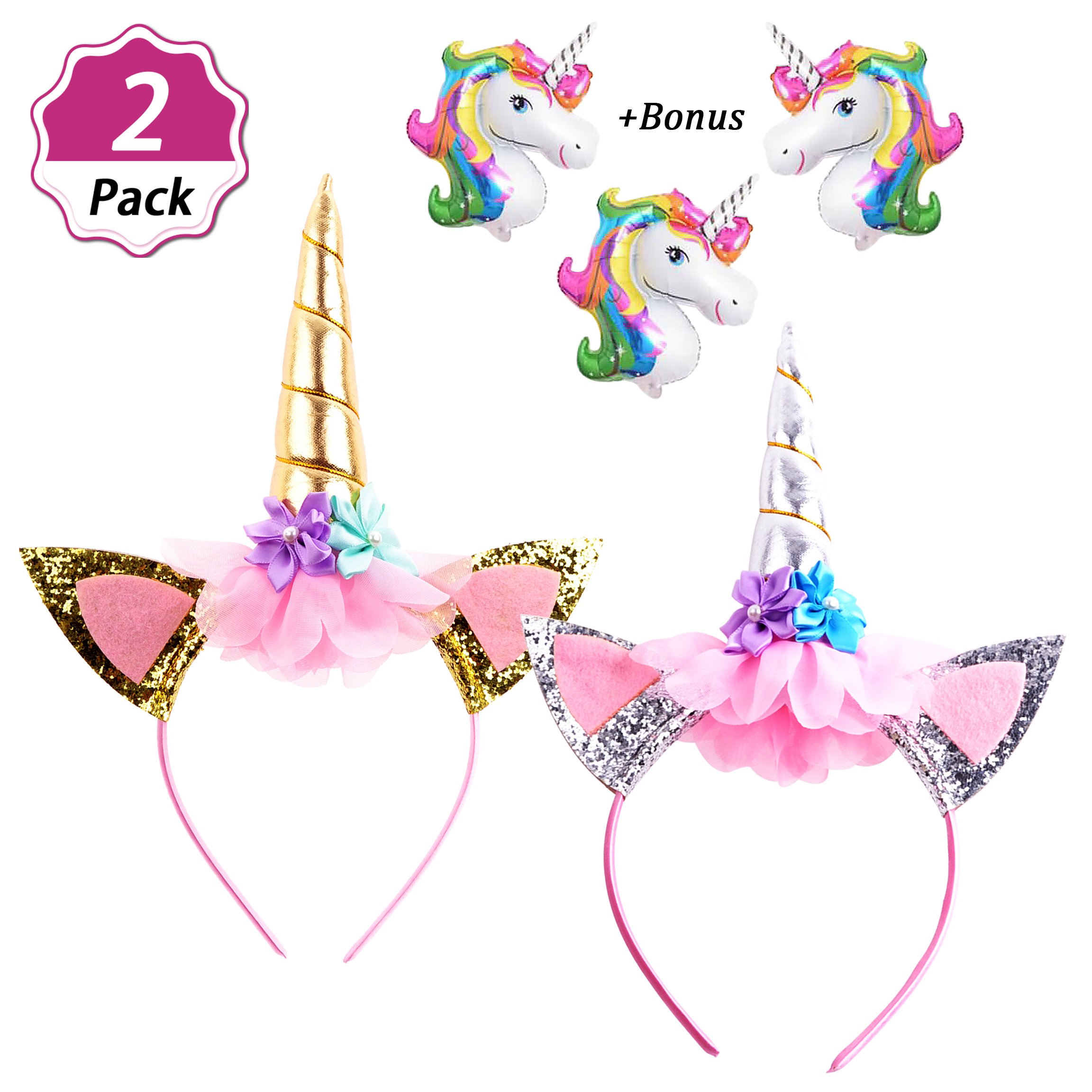 DaisyFormals Unicorn Headband for Girls Unicorn Party,2 PCS Gold and Silver