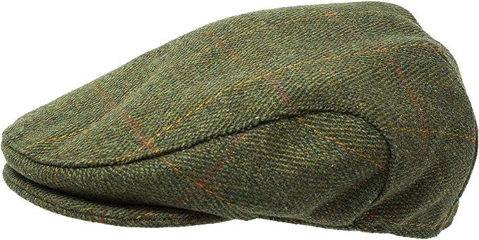 Mens Tweed Flat Cap Country Derby Wool Shooting Hat New Teflon Coated Hunt