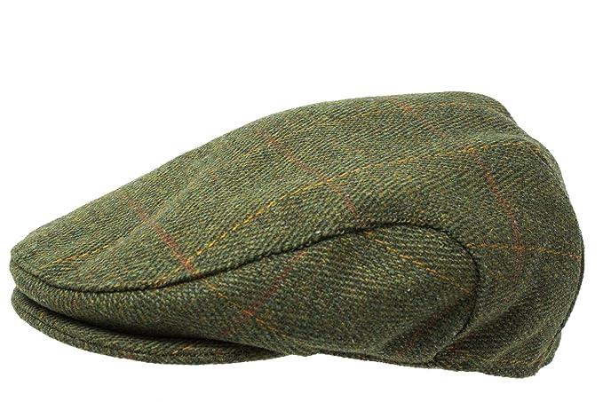 Gorra chata de tweed escocés de gran calidad, recubierta de teflón, para caza y aire libre