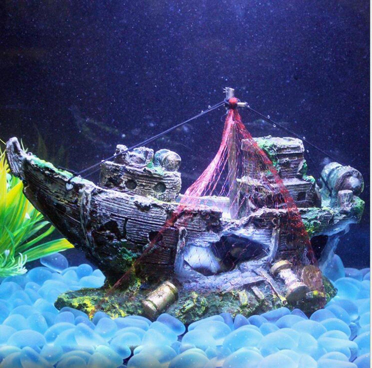 M2cbridge aquarium fish tank shipwreck decoration pirate for Aquarium decoration ship