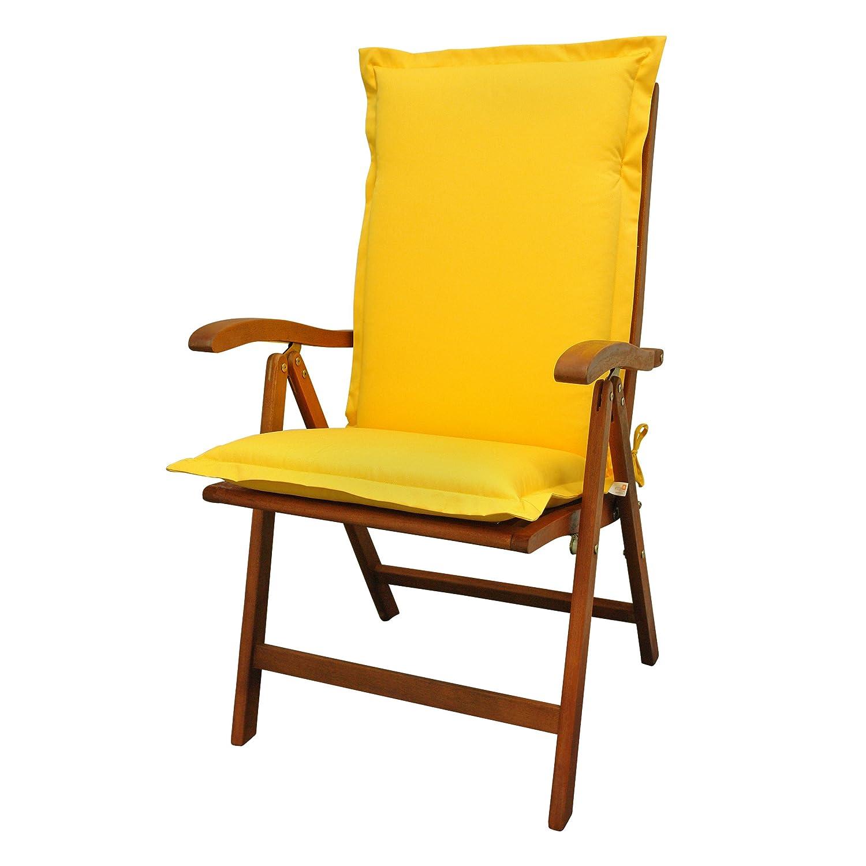 IND-70442-AUHL Sitzauflage Hochlehner Premium, extra dicke Polsterauflage mit Reißverschluss, 120 x 50 x 9 cm, Gelb