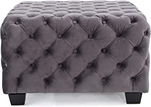 Christopher Knight Home 299849 Living Melvek Grey New Velvet Ottoman, Square
