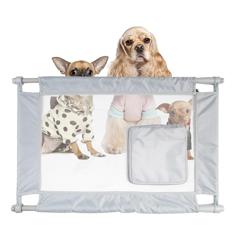 PET LIFE 'Porta Gate' Anti-Drilling Nylon Mesh Collapsible Folding Travel Safety Pet Cat Dog Gate w Zippered Entrance, One Size, Grey