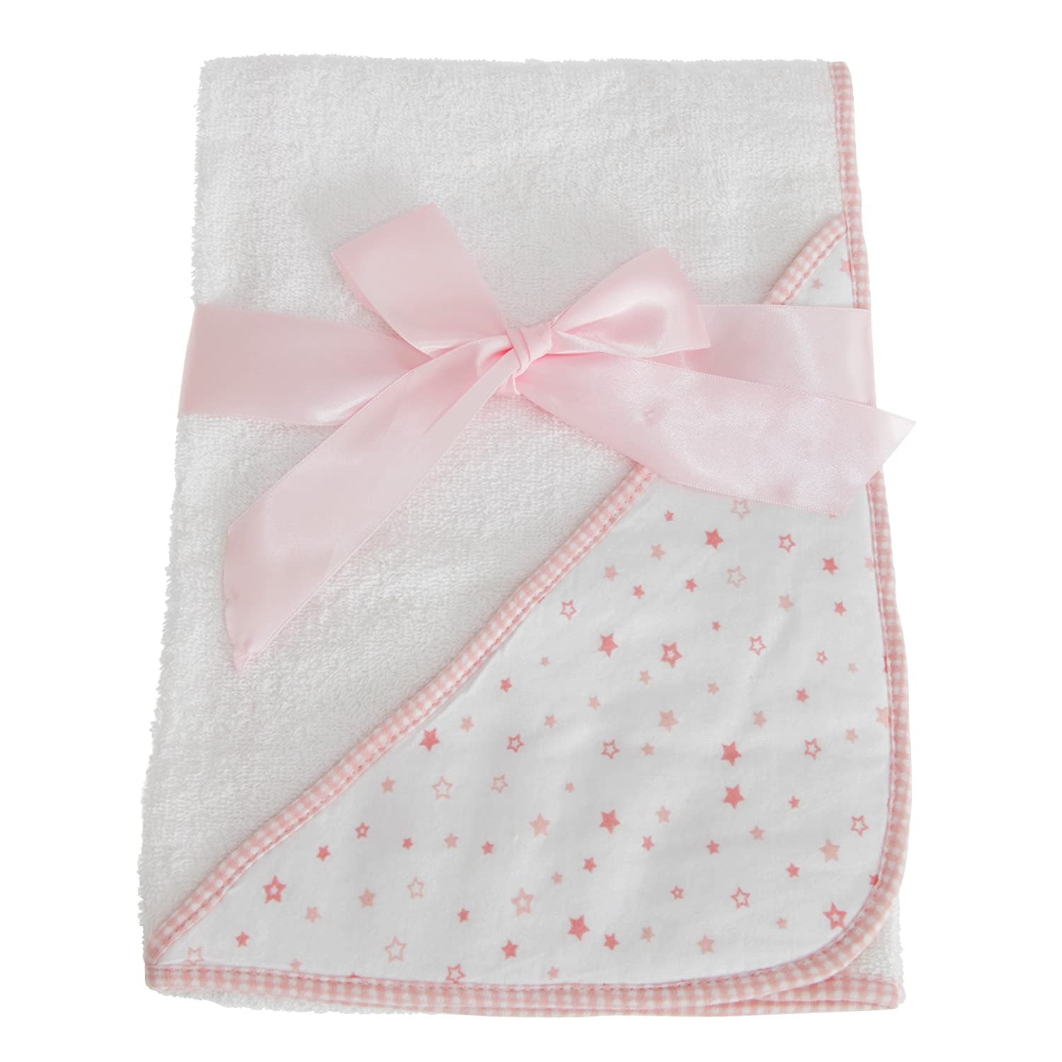 Snuggle Baby Hooded Towel For Someone Special With Star Design (30 x 30 Inch) (White/Pink) UTBABY1482_1