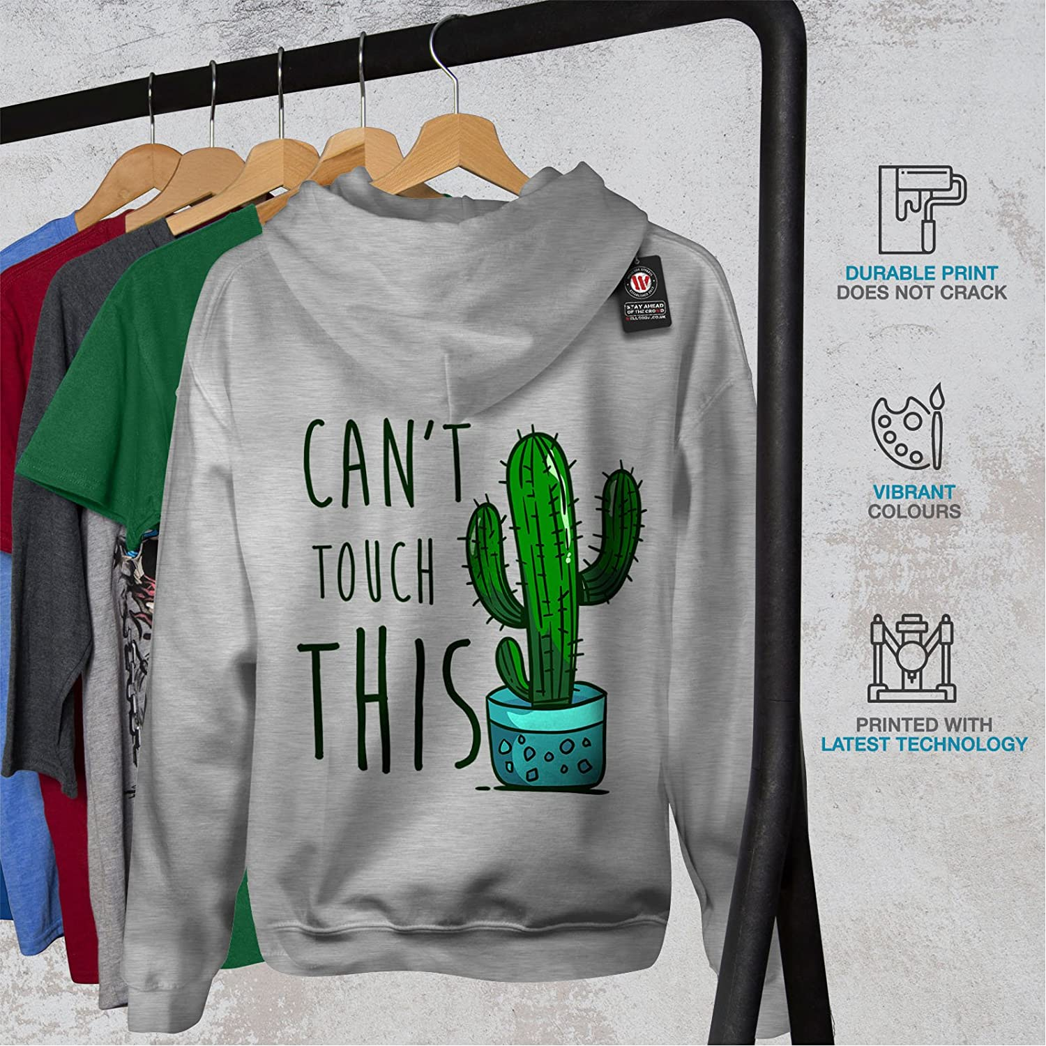No Touching Printed on The Jumpers Back wellcoda Cactus Funny Mens Hoodie
