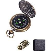 Neihou WB07701 MEHRWEG Zakkompas, draagbaar messing-kompas, waterdicht, opklapbaar navigatiegereedschap, klassiek springdeksel, wandelkompas met lichtgevende cijfers en metalen ketting