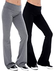 UNIQUE STYLES ASFOOR Bootcut Yoga Pants for Women High Waist Tummy Control Maternity Plus Size Stretch Leggings (XX-Large (Petite), 2PK-Black, Grey)