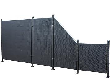 Prime Tech Poly Rattan Sichtschutz / Zaun, Set 9 Teilig In Schwarz