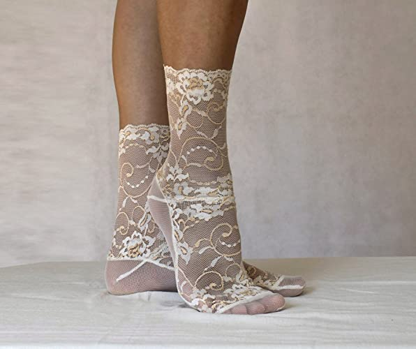 66ca2157a6 Amazon.com: Lace Socks. Ivory and Beige Floral Scalloped Edge Design ...