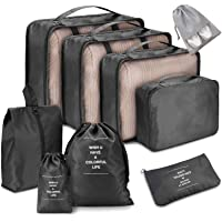 Voniry 8 Set Packing Cubes - Waterproof Mesh Compression Travel Luggage Packing Organizer with Shoes Bag(Black)