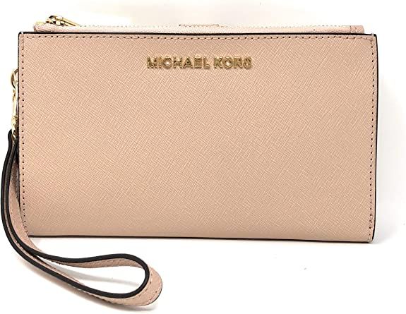 Michael Kors Jet Set Travel Double Zip Saffiano Leather Wristlet Wallet in Ballet best women's wristlets
