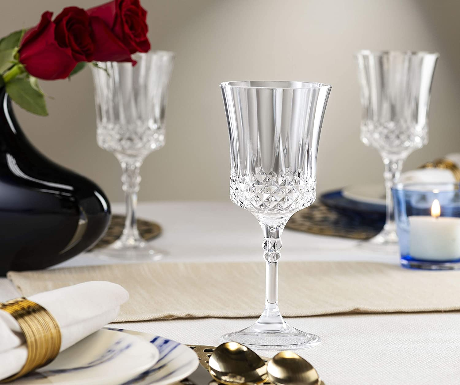 Mixed Drinks Elegant Round Drinking Cups For Water Great For Wedding Reception Or The Everyday Party Laura Stein 4 Pack Disposable Heavy Weight Plastic Crystal Style Highball Glasses Or Soda Beer