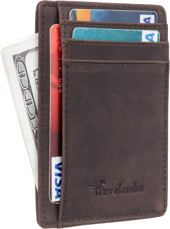 Travelambo Front Pocket Minimalist Leather Slim Wallet RFID Blocking Medium Size-Crazy Horse