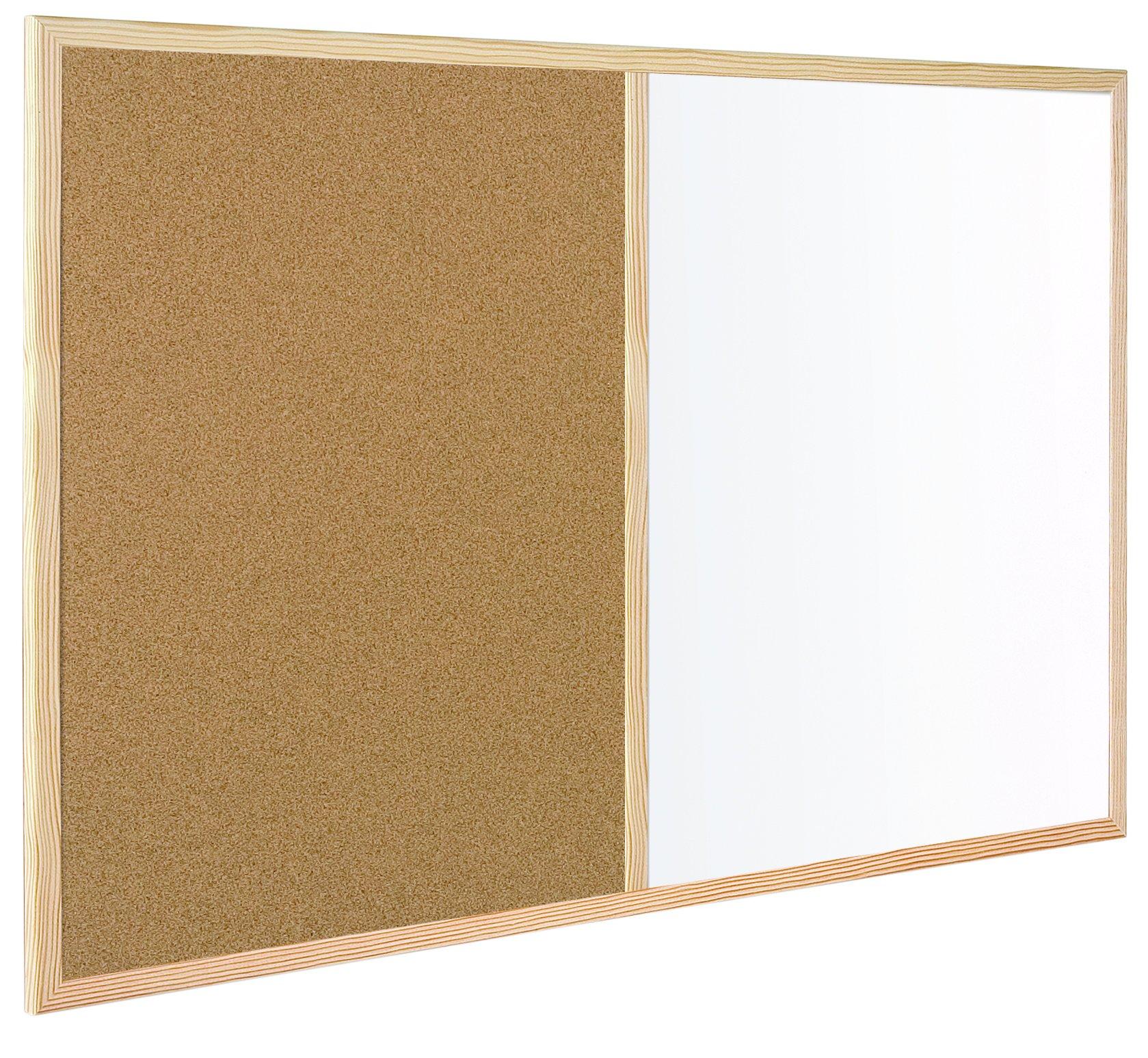 MasterVision Combination Dry Erase / Cork Bulletin Board, 3 x 4 Feet, Oak Frame (MX141212319)