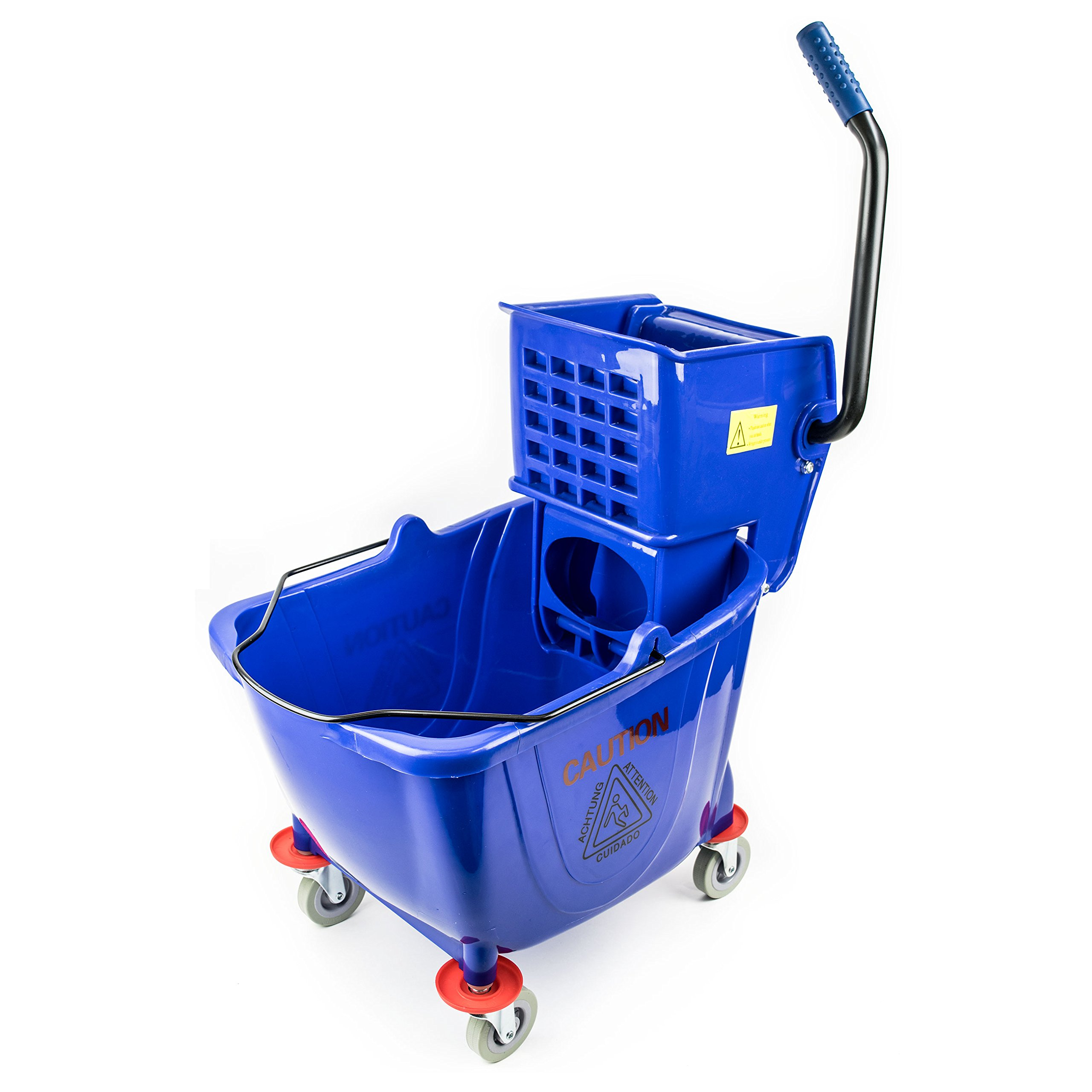 RK Safety RKMB36-BLU Commercial Side Press Wringer Mop Bucket 36 qt / 9 gal (Blue)