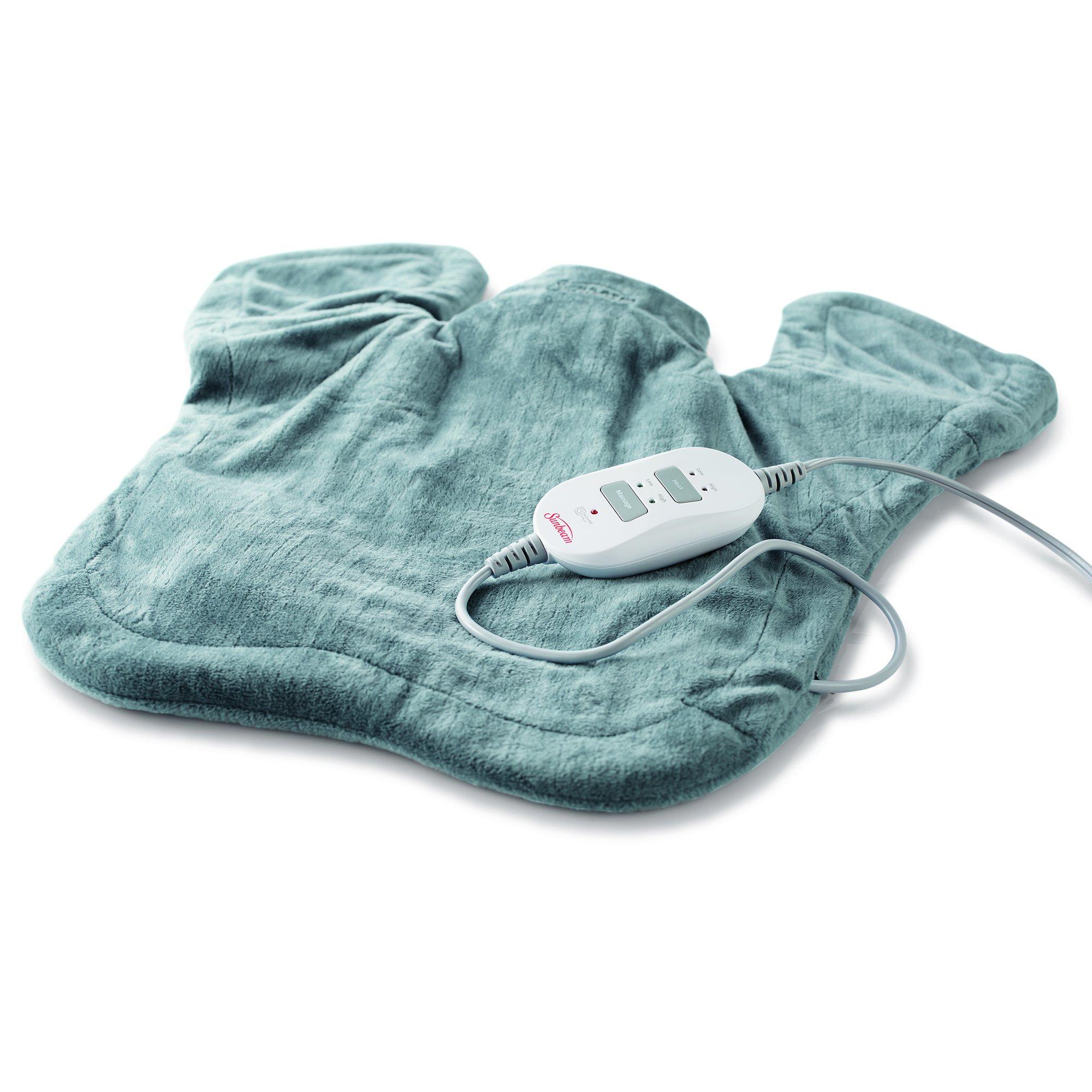 Sunbeam Renue Massaging XL Tension Relief Heat Therapy Wrap, Moist/Dry Heat, Digital Controller, 4 Heat-Settings, 2-Hour Auto-Off, Machine Washable, 25'' x 25'', Grey