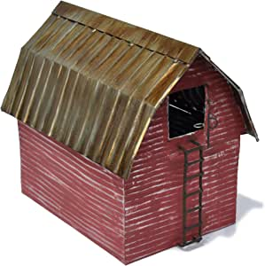 Jeremie Corporation Red Metal Barn for Miniature Garden, Fairy Garden