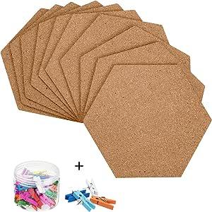Cork Bulletin Board Tiles Adhesive Mountain Shape Corkboard with 36pcs Push Pins