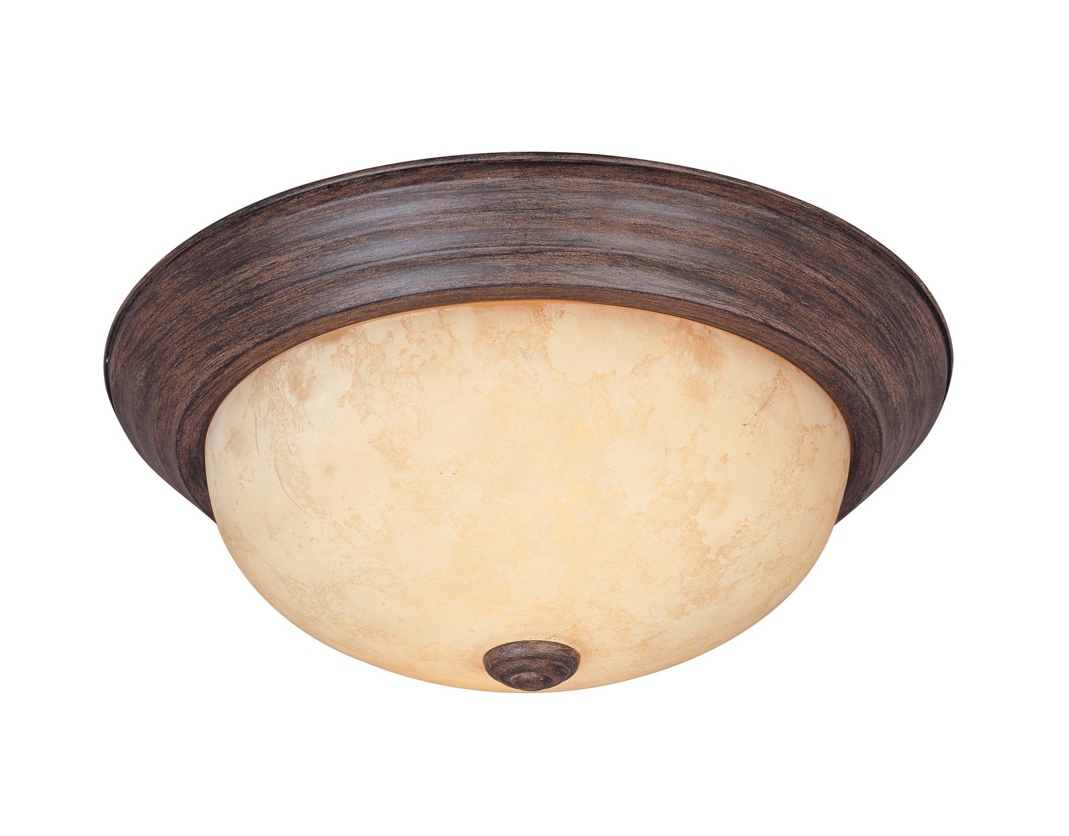 1257S-WM-AM Flushmount Ceiling Light Warm Mahogany 2-Light 11'' Fixture