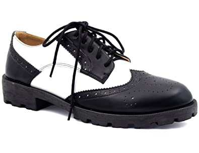 a744d725cf90be MaxMuxun Chaussures Femme Oxford Plat Mode Ronde Confortable Partie ...