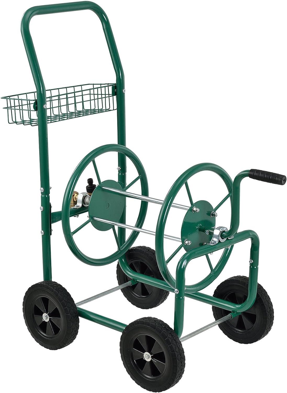 pro.tec] Carro portamangueras metal (XL) profesional (Conexiones: 3/4 pulgadas) (Color: verde) - Carrete para manguera portátil - Desenrollar a 90° en la dirección de desplazamiento: Amazon.es: Hogar