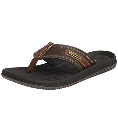 Open Minded Men's Dark Gray Leather Flip-Flops Sandals Size 9