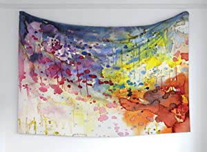 Ambesonne Abstract Tapestry, Grunge Style Dirty Look with Colorful Watercolor Spots Liquid Splashes, Fabric Wall Hanging Decor for Bedroom Living Room Dorm, 60