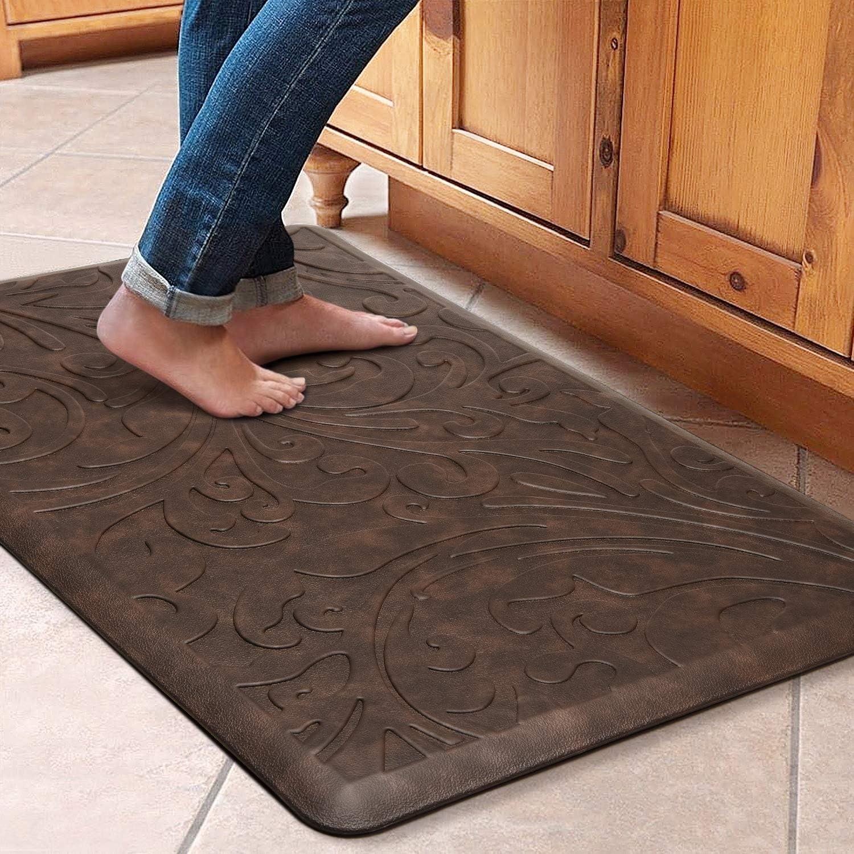 "KMAT Kitchen Mat Cushioned Anti-Fatigue Floor Mat Waterproof Non-Slip Standing Mat Ergonomic Comfort Floor Mat Rug for Home,Office,Sink,Laundry,Desk 20""(W) x 30""(L),Brown"