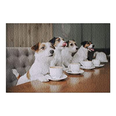 Four Jack Russell Terriers Sitting in Front of Coffee Mugs 9032819 (Premium 500 Piece Jigsaw Puzzle for Adults, 13x19, Made in USA!): Toys & Games
