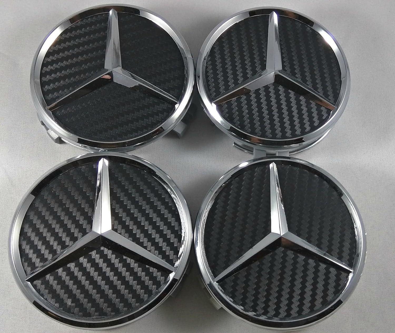 4 coprimozzi neri a incastro con centro in rilievo per cerchi in lega Mercedes AMG Mercedes Benz
