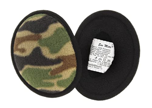 Ear Mitts Bandless Ear Muffs For Men, Camouflage Fleece Ear Warmers, Small