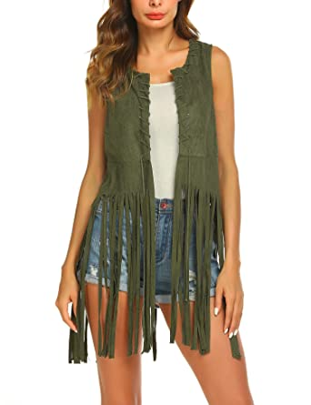 5b3277a2ea455 Hotouch Women Fringe Vest Open-Front Faux Suede Sleeveless Tassels Vest  Cardigan Army Green S