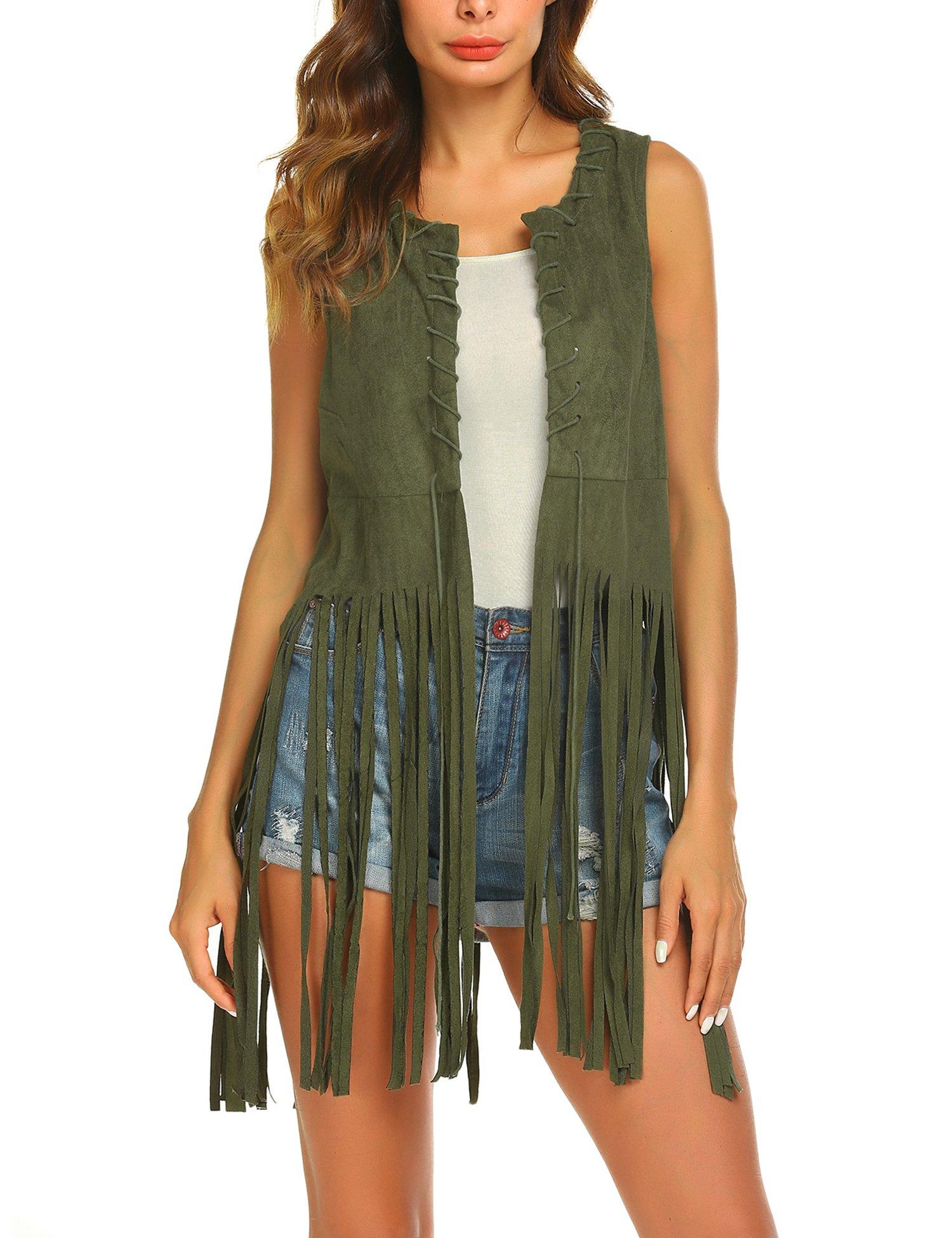Women 70s Fringe Vest Faux Suede Tassels Vest Hippie Clothes Open Front Sleeveless Cardigan Female