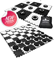 2-in-1 Reversible Giant Checkers & Tic Tac Toe Game ( 4ft x 4ft ) - 100% High Density EVA Foam Mat & Pieces - Extra Large Ch