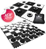 2-in-1 Reversible Giant Checkers & Tic Tac Toe Game ( 4ft x 4ft ) - 100% High Density EVA Foam Mat & Pieces - Extra Large Checker Discs with Jumbo Checkerboard and Yard Size Tic Tac Toss Set